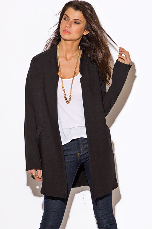 BLACK MANDARIN COLLAR OPEN COAT JACKET