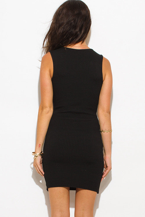BLACK RIBBED KNIT LACEUP SLEEVELESS SEXY SWEATER MINI DRESS