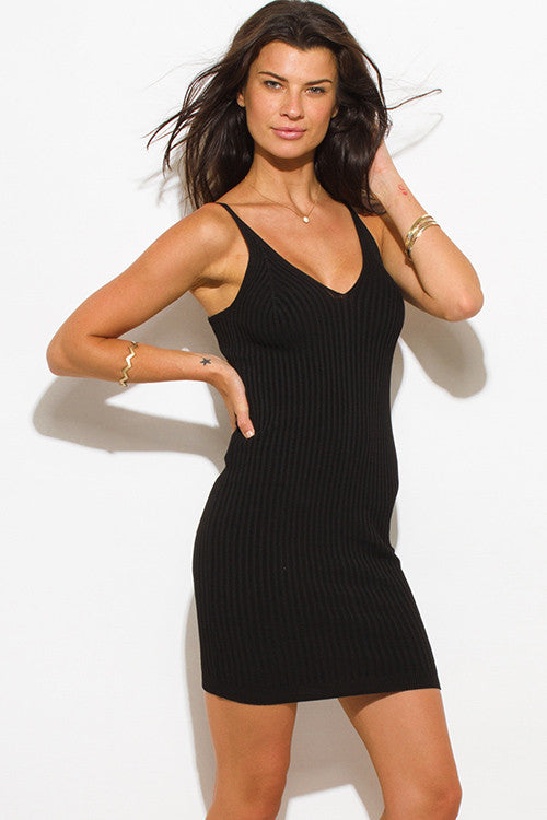 BLACK RIBBED KNIT THIN STRAP V NECK SWEATER MINI DRESS