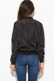 BLACK BANDED CROPPED WITH GOLD ZIPPER BOMBER JACKET