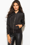 BLACK BANDED CROPPED WITH SILVER ZIPPER BOMBER JACKET