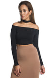 THE MYSTYLEMODE BLACK LONG SLEEVE CHOKER COLLAR CROP TOP