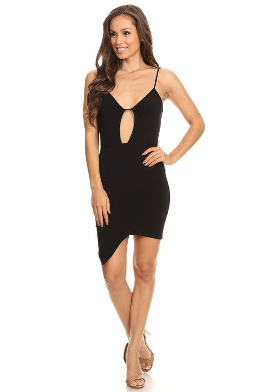 THE MYSTYLEMODE BLACK DOUBLE LINED PEEKABOO CUTOUT ASYMMETRIC MINI DRESS