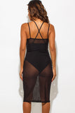 THE MYSTYLEMODE BLACK BODYSUIT CROSS BACK SHEER MESH MIDI DRESS