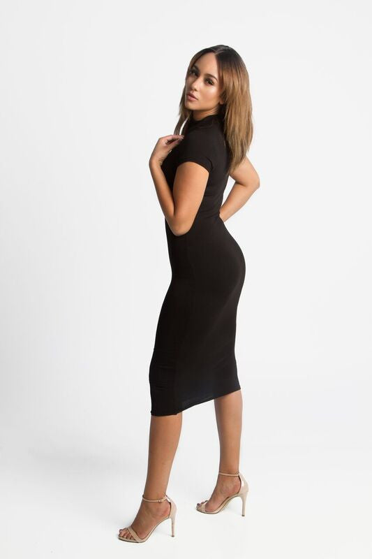 FINAL SALE-THE MYSTYLEMODE BLACK CAP SLEEVE FUNNEL NECK DOUBLE LINED BODYCON MIDI DRESS