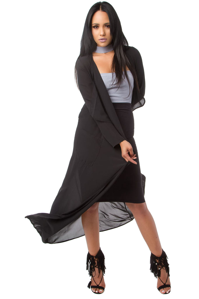 THE MYSTYLEMODE BLACK ESSENTIAL POCKET TRENCH