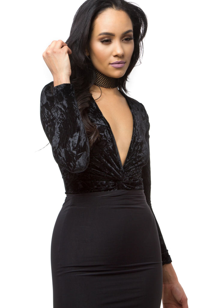 THE MYSTYLEMODE BLACK CRUSHED VELVET PLUNGING V NECK LONG SLEEVE BODYSUIT