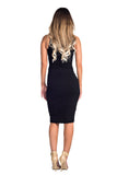 THE MYSTYLEMODE BLACK DOUBLE LINED RIBBED TANK CUT OUT MIDI DRESS