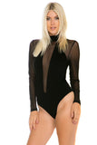 THE MYSTYLEMODE BLACK CHOKER V CUT OUT MESH LONG SLEEVE BODYSUIT