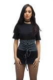 FINAL SALE- THE MYSTYLEMODE BLACK WASHED DENIM CORSET BELT