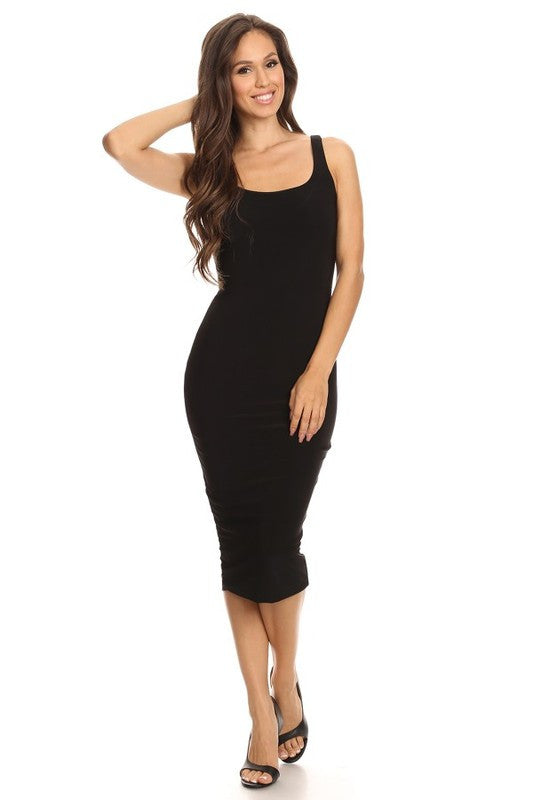 THE MYSTYLEMODE BLACK ESSENTIAL DOUBLE LINED TANK MIDI DRESS