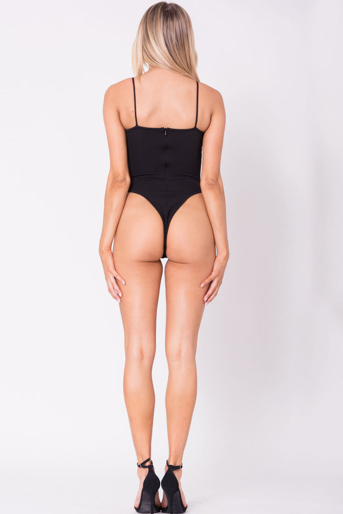 THE MYSTYLEMODE BLACK HOOK AND EYE SPAGHETTI STRAP BODYSUIT
