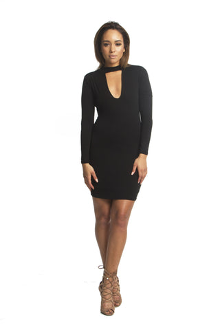 FINAL SALE-THE MYSTYLEMODE CREAM CAP SLEEVE FUNNEL NECK DOUBLE LINED BODYCON MIDI DRESS