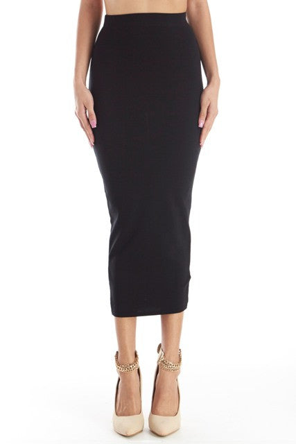 THE MYSTYLEMODE BLACK FITTED KNIT MIDI SKIRT