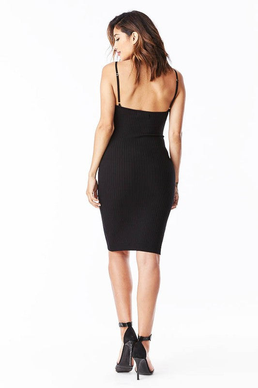 THE MYSTYLEMODE BLACK KNIT RIBBED SPAGHETTI STRAP KNEE LENGTH DRESS
