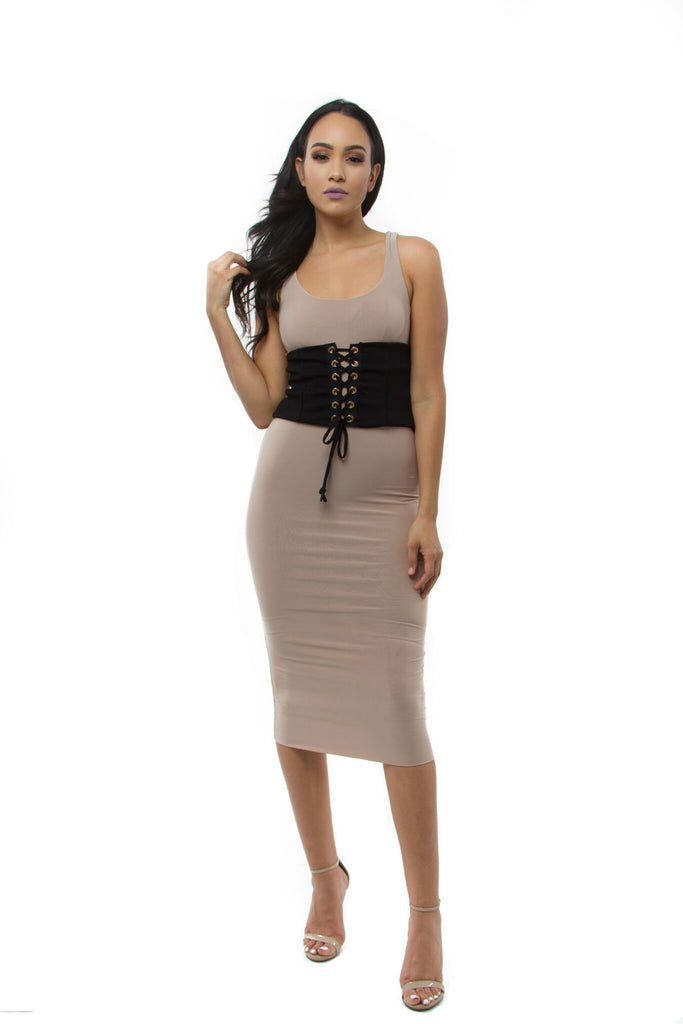 THE MYSTYLEMODE BLACK CORSET BELT WITH GOLD DETAIL