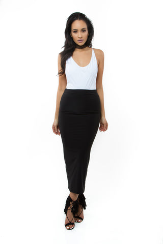 THE MYSTYLEMODE BLACK SATIN SIDE SLIT MAXI SKIRT