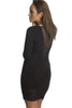 FINAL SALE-THE MYSTYLEMODE BLACK DEEP V MESH LONG SLEEVE DRESS