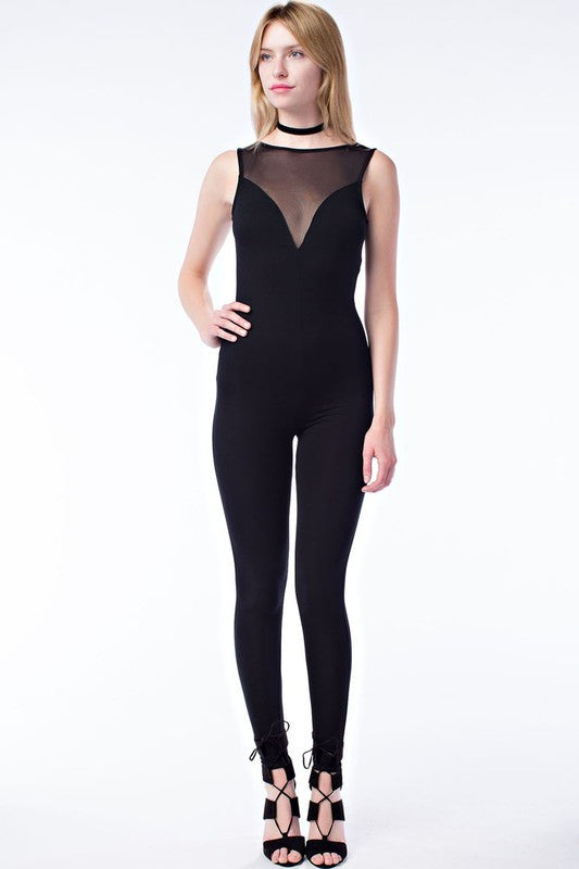 FINAL SALE-THE MYSTYLEMODE BLACK SWEETHEART MESH SLEEVELESS JUMPSUIT