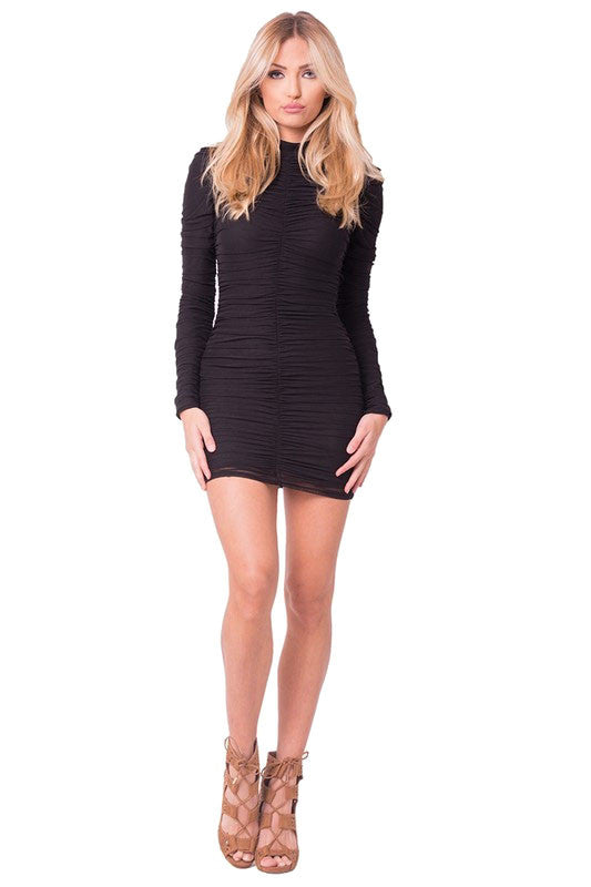 THE MYSTYLEMODE BLACK MESH RUCHED DOUBLE LINED MINI DRESS