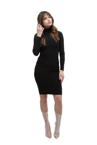THE MYSTYLEMODE BLACK DOUBLE LINED SIDE SLIT SPAGHETTI STRAP MIDI DRESS