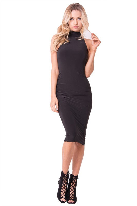 THE MYSTYLEMODE BLACK ESSENTIAL VENEZIA DOUBLE LINED SLEEVELESS MOCK NECK MIDI DRESS