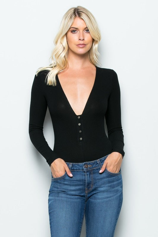 THE MYSTYLEMODE BLACK RIBBED PLUNGING V NECK LONG SLEEVE BODYSUIT