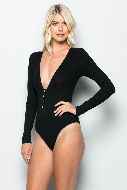 84eae06a5d THE MYSTYLEMODE BLACK RIBBED PLUNGING V NECK LONG SLEEVE BODYSUIT