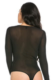 THE MYSTYLEMODE BLACK MESH ROUND NECK BODYSUIT
