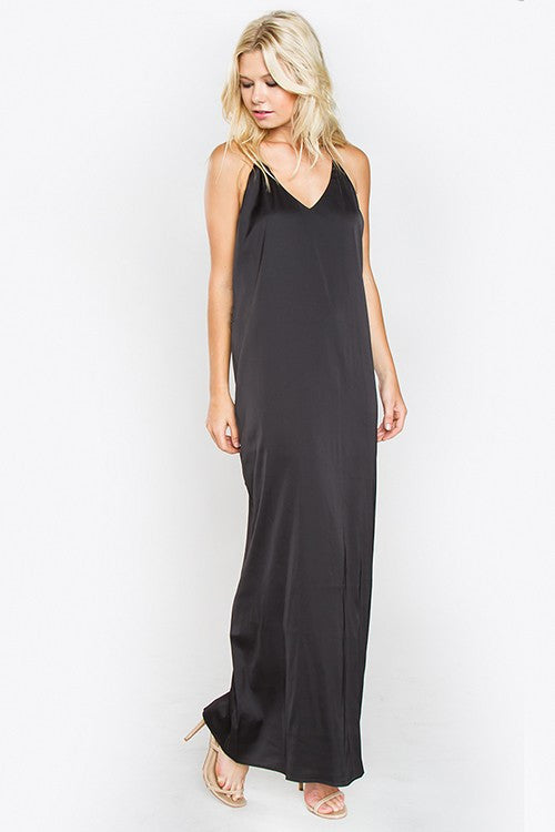 THE MYSTYLEMODE BLACK SATIN MAXI SLIP DRESS