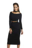 THE MYSTYLEMODE BLACK DOUBLE LINED STRETCH HIGH WAISTED MIDI SKIRT