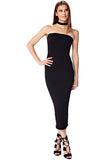 THE MYSTYLEMODE BLACK DOUBLE LINED STRAPLESS MIDI DRESS