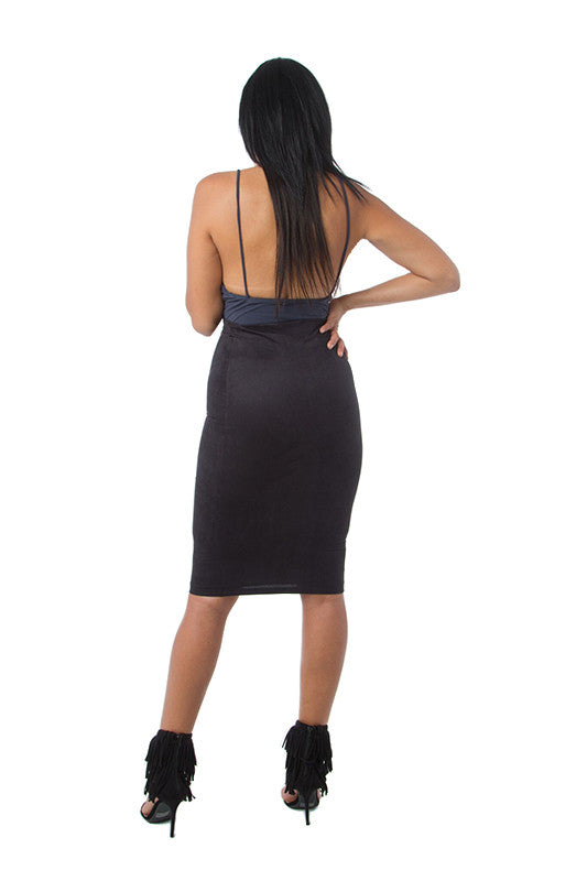 THE MYSTYLEMODE BLACK SUEDE DOUBLE LINED MIDI SKIRT