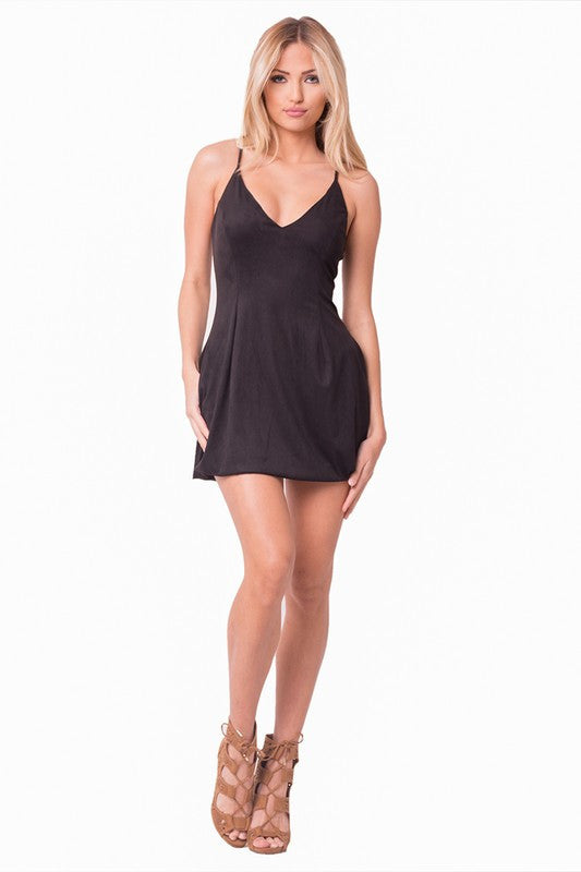 THE MYSTYLEMODE BLACK SUEDE DOUBLE LINED ZIPPER BACK A-LINE MINI DRESS