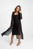 THE MYSTYLEMODE BLACK LIGHTWEIGHT CHIFFON TRENCH