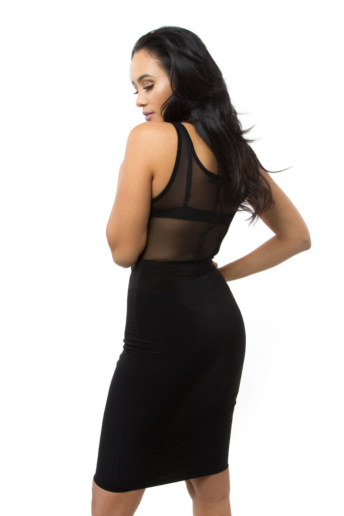 THE MYSTYLEMODE BLACK MESH TANK BODYSUIT