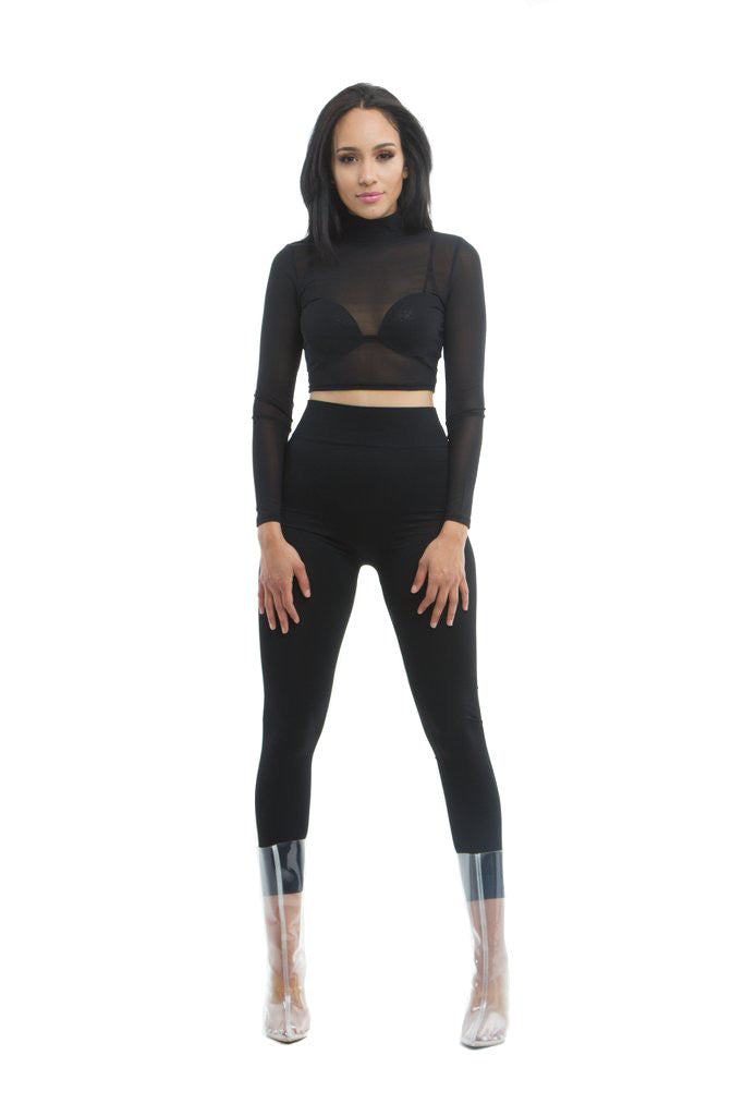 THE MYSTYLEMODE BLACK TUMMY CONTROL HIGH WAISTED LEGGINGS
