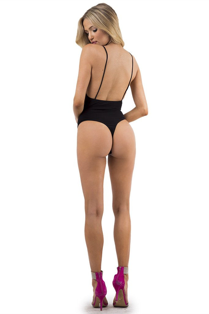 THE MYSTYLEMODE BLACK V NECK LOW BACK DOUBLE LINED ESSENTIAL BODYSUIT