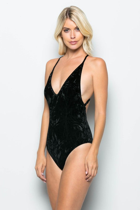 838fc6dbfc ... THE MYSTYLEMODE BLACK CRUSHED VELVET PLUNGING V NECK SPAGHETTI STRAP  BODYSUIT ...