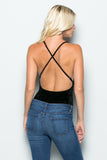 THE MYSTYLEMODE BLACK CRUSHED VELVET PLUNGING V NECK SPAGHETTI STRAP BODYSUIT