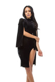 THE MYSTYLEMODE BLACK VELVET HIGH NECK SIDE SLIT BELL ARMS MIDI DRESS