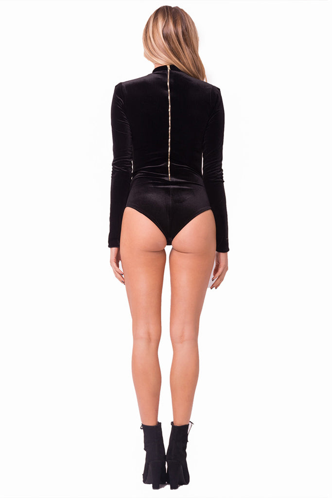 THE MYSTYLEMODE BLACK VELVET MOCK NECK BACK ZIPPER DOUBLE LINED ESSENTIAL BODYSUIT
