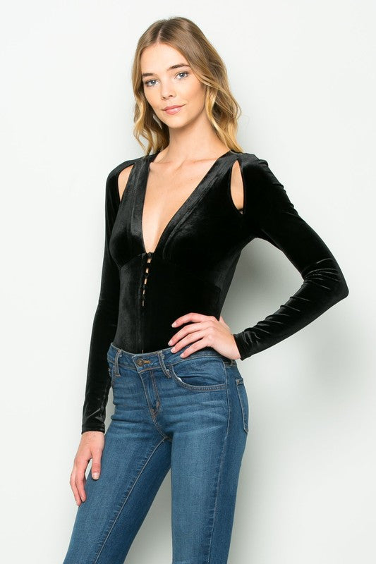 THE MYSTYLEMODE BLACK VELVET PLUNGING V NECK SHOULDER SLIT LONG SLEEVE BODYSUIT