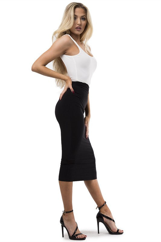 THE MYSTYLEMODE BLACK ESSENTIAL VENEZIA DOUBLE LINED MIDI SKIRT