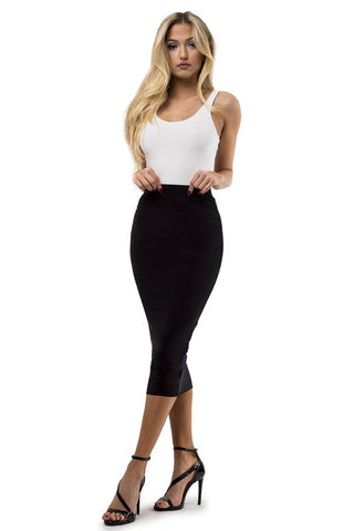 THE MYSTYLEMODE BLACK ESSENTIAL VENEZIA DOUBLE LINED KNEE LENGTH SKIRT
