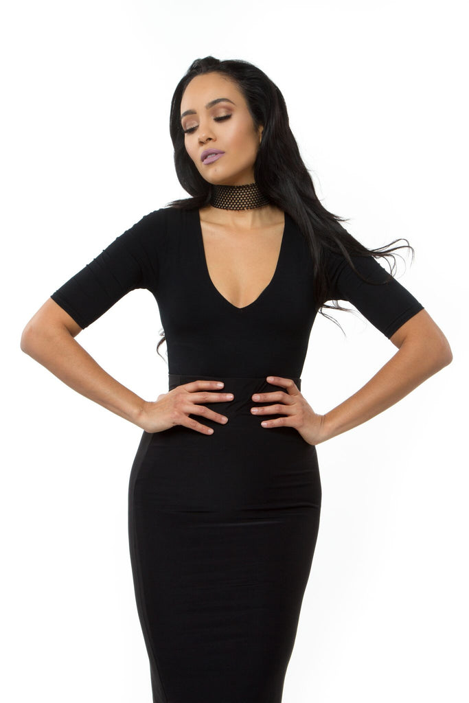 75602c2028 THE MYSTYLEMODE BLACK V NECK 3 4 SLEEVE BODYSUIT