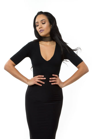 THE MYSTYLEMODE BLACK LONG SLEEVE FUNNEL NECK MESH BODYSUIT