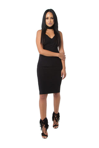 THE MYSTYLEMODE BLACK RIBBED SLIT RACERBACK MIDI DRESS