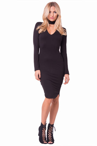 THE MYSTYLEMODE BLACK ESSENTIAL DOUBLE LINED MOCK NECK MIDI DRESS