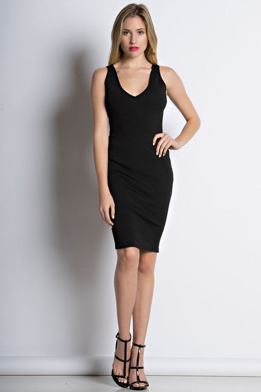 THE MYSTYLEMODE BLACK LIGHTWEIGHT BANDAGE V NECK MIDI DRESS